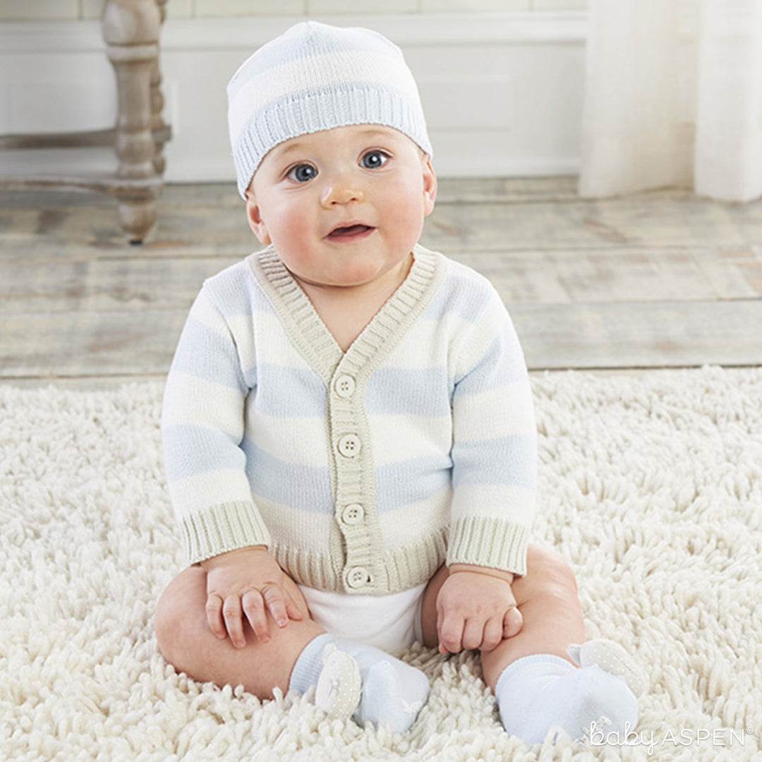 Blue Stripe Cardigan and Cap | Spring Gifts for Baby | Baby Aspen