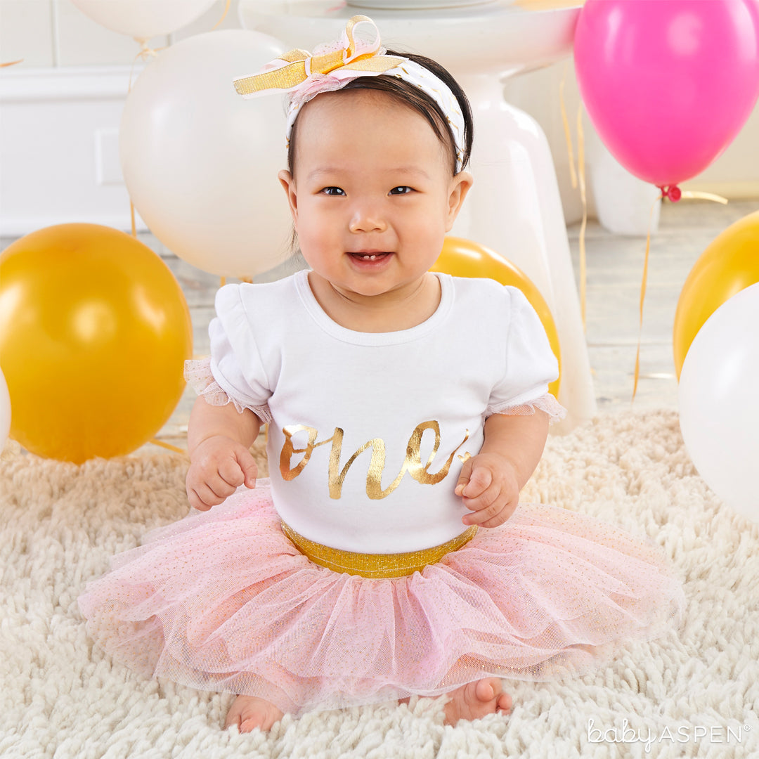 My First Birthday 3 Piece Tutu Outfit | Baby Gifts for Each New Milestone | Baby Aspen