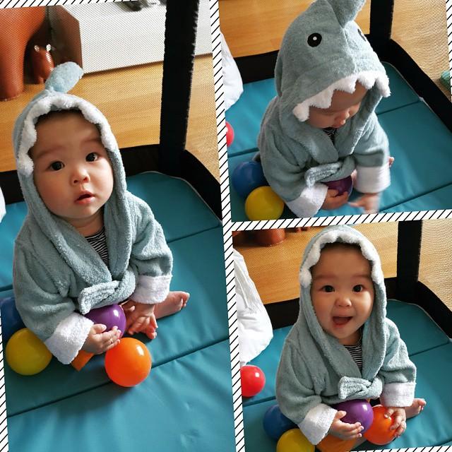 Baby Playing in Blue Shark Robe | via @@hazeleung on Instagram