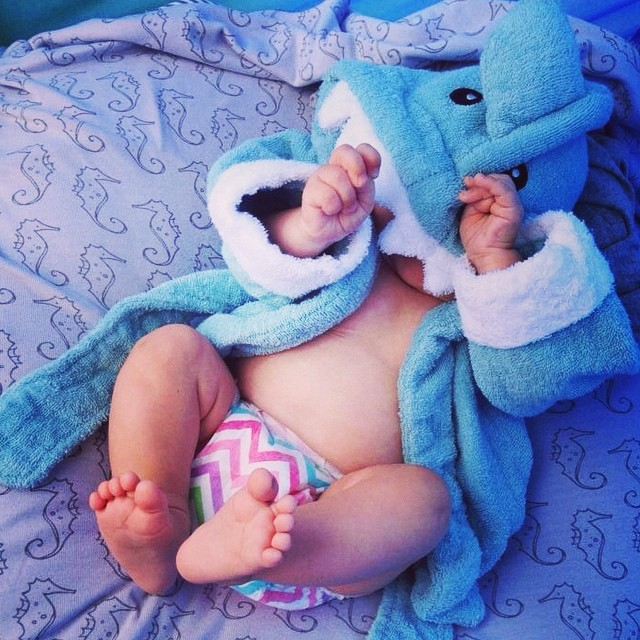 Baby Hiding in a Shark Robe | via @hperry2012 on Instagram