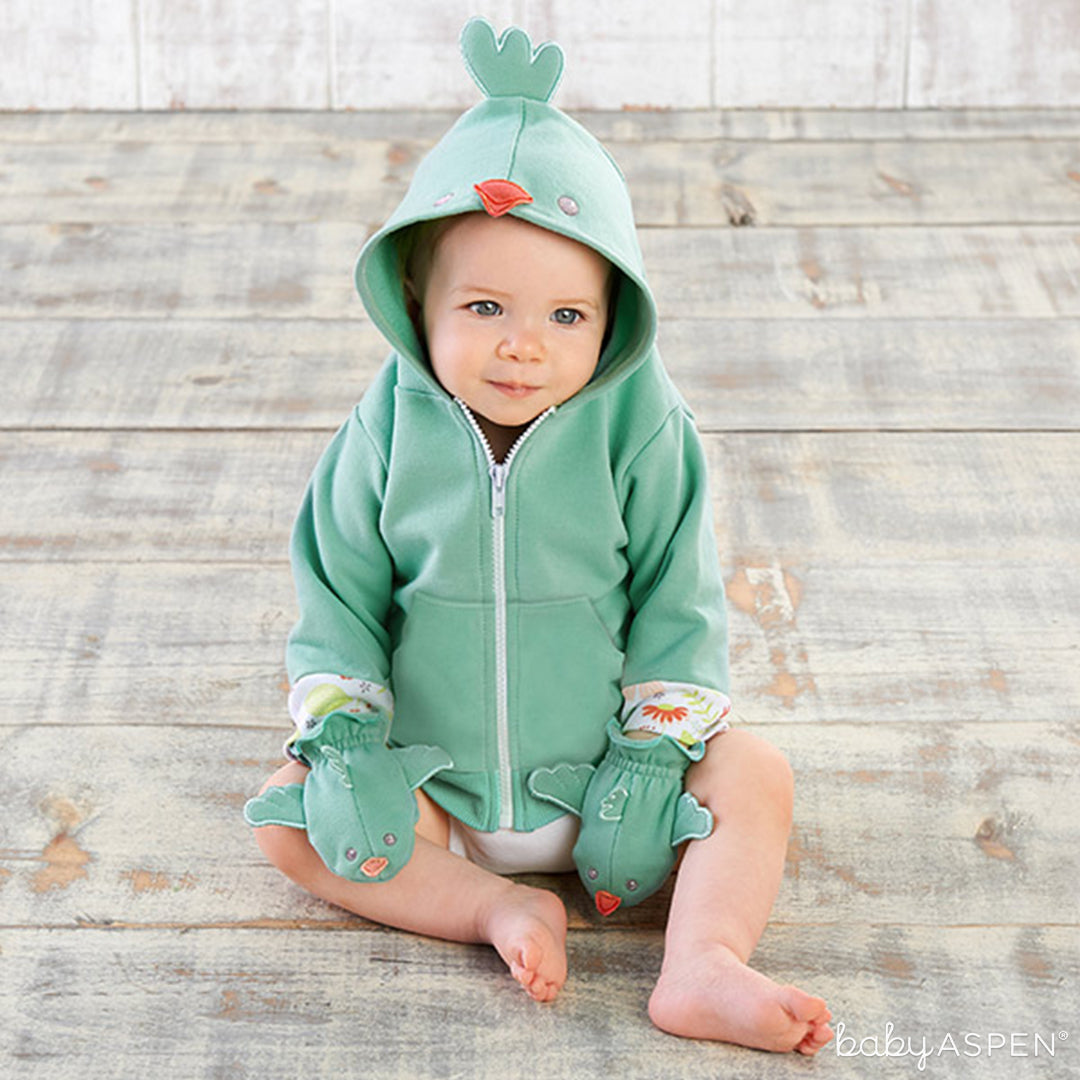 Mint Bird Happy Hoodie and Mittens | Baby Aspen | Holiday Gift Guide