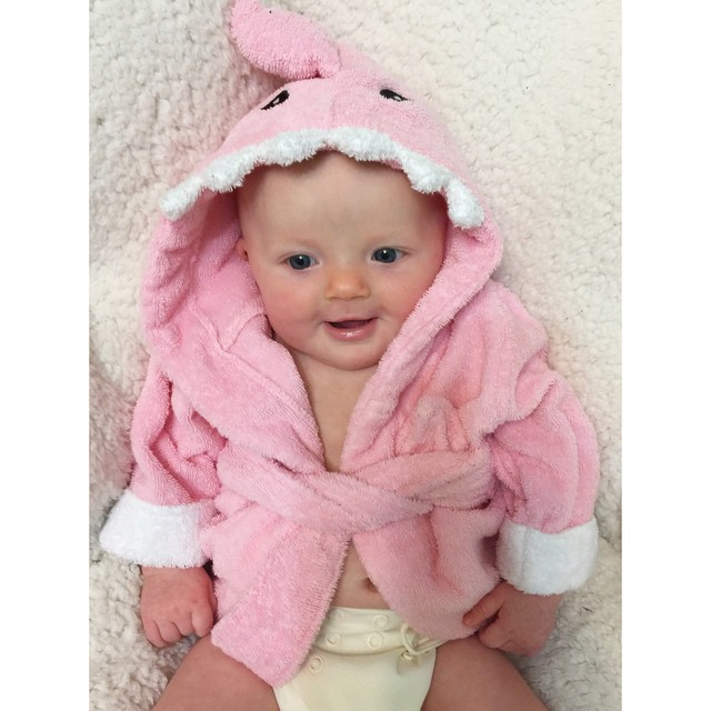 Baby in Pink Shark Robe | via @morgancalhoun7 on Instagram