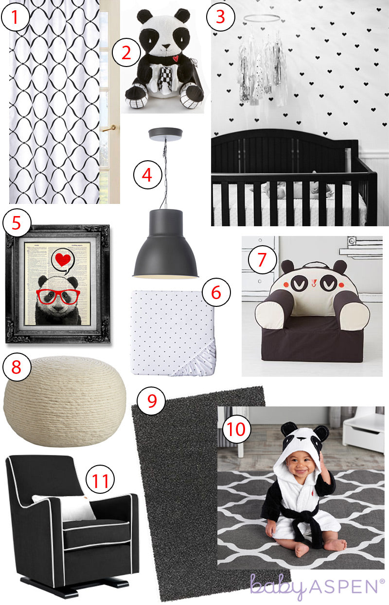 Panda themed baby nursery with a modern black and white color palette