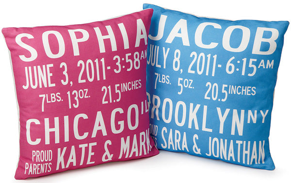 Personalized birth announcement pillow | Lori Blum via Uncommon Goods