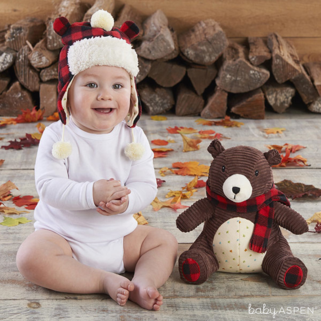 Pierre the Bear Plush Plus Hat for Baby| Baby Aspen | Best Gifts for a Winter Baby Shower