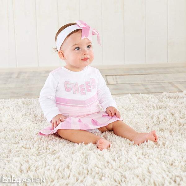 pink baby cheerleader outfit from Baby Aspen
