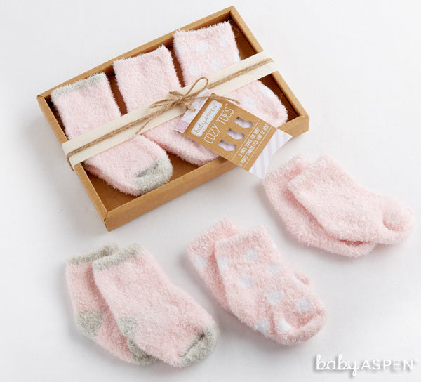 Pink chenille socks from Baby Aspen