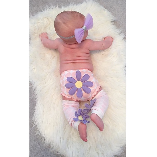 Baby in Blooming Bloomer and Flower Leg Warmers by Baby Aspen  | Fan Photo by southernwvgirl via Instagram