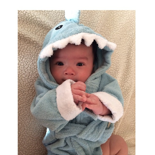 Baby Sitting in Shark Robe | via @superbaby_benji  on Instagram
