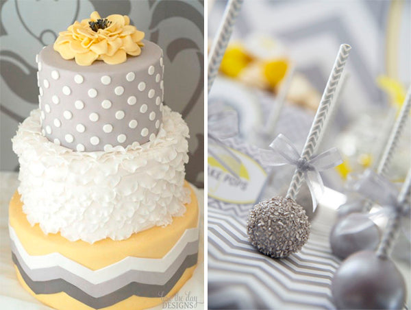Baby Shower Sweets for a Yellow and Gray Gender Neutral Baby Shower Color Scheme | Cake via Love the Day Designs | Cake Pops via Kara's Party Ideas | Baby Aspen Blog