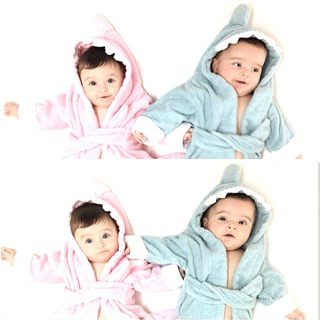 Twins in a Pink and Blue Shark Robe | via @twinsofnewyork on Instagram