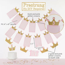 Load image into Gallery viewer, 1st Birthday Milestone Photo Banner & Cake Topper - Princess Party - Décor Kit