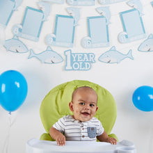 Load image into Gallery viewer, 1st Birthday Milestone Photo Banner & Cake Topper - Shark Party - Décor Kit