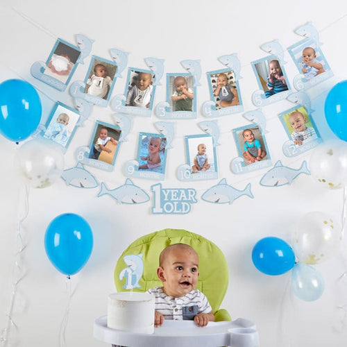 1st Birthday Milestone Photo Banner & Cake Topper - Shark Party - Décor Kit