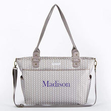 Load image into Gallery viewer, Baby Aspen 360 Signature Diaper Bag - Gray Chevron - Diaper Bag