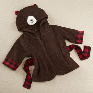 Beary Bundled Brown and Red Hooded Robe (Personalization Available) - Robes