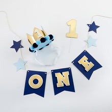 Load image into Gallery viewer, Blue & Gold 1st Birthday Decor Kit - Décor Kit