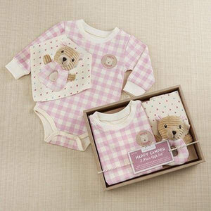Happy Camper 3 Piece Gift Set (Pink Plaid) - Baby Gift Sets