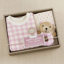 Load image into Gallery viewer, Happy Camper 3 Piece Gift Set (Pink Plaid) - Baby Gift Sets