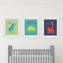 Load image into Gallery viewer, Personalized Dino Baby Nursery Décor Wall Art (Set of 3 Prints) - Wall Art