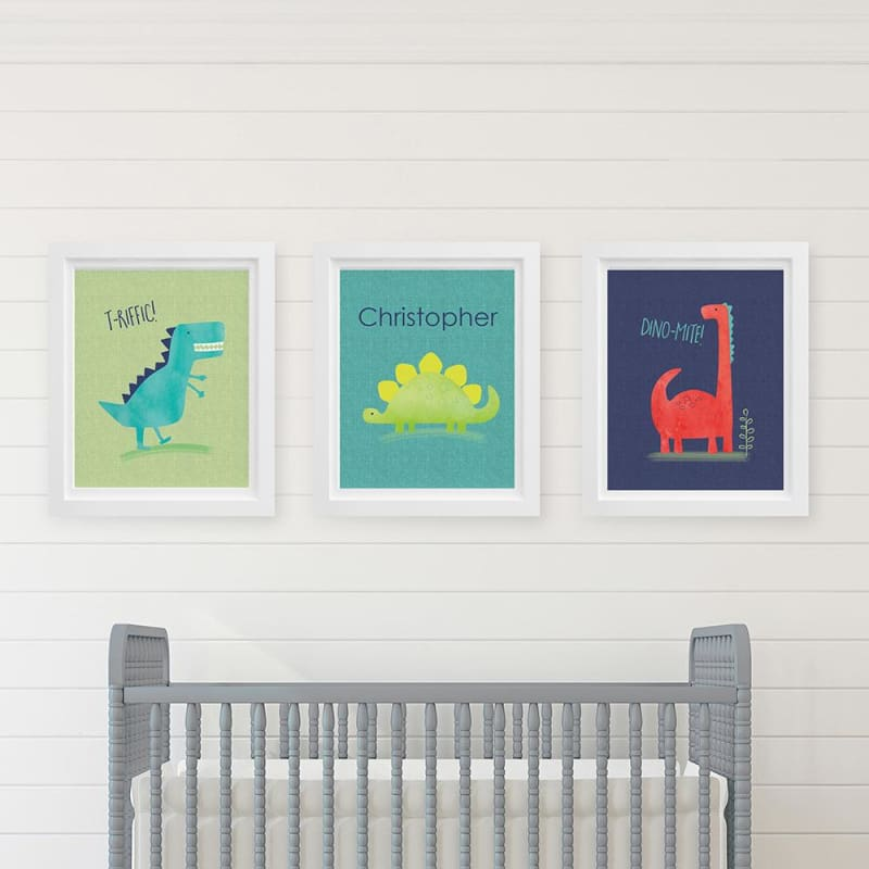 Personalized Dino Baby Nursery Décor Wall Art (Set of 3 Prints) - Wall Art