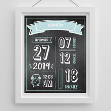 Load image into Gallery viewer, Personalized Newborn Infographic Nursery Décor Wall Art (Blue Pink & Black) - Wall Art