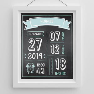 Personalized Newborn Infographic Nursery Décor Wall Art (Blue Pink & Black) - Wall Art