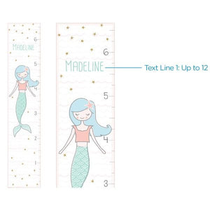 Personalized Simply Enchanted Growth Chart: Mermaid and Unicorn - Growth Chart