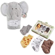 Load image into Gallery viewer, Safari Gift Set with Elephant Hooded Towel & 4-Pair Sock Set - Baby Gift Sets