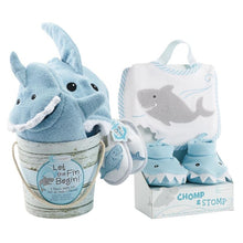 Load image into Gallery viewer, Shark Baby 6-Piece Gift Set Bundle - Blue - Baby Gift Sets