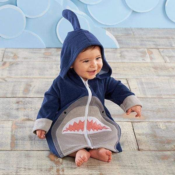 Shark Hooded Beach Zip Up (Personalization Available) - Beach Zip Up