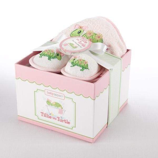 Tillie the Turtle 4-Piece Bath Time Gift Set (Personalization Available) - Baby Gift Sets
