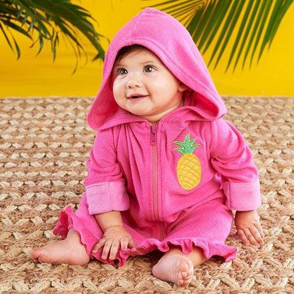 Tropical Pineapple Hooded Beach Zip Up (Personalization Available) - Beach Zip Up