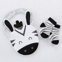 Load image into Gallery viewer, Zebra Bib and Socks Set - Baby Gift Sets