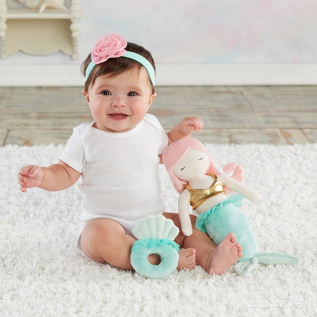 Mia the Mermaid Plush Plus Headband and Rattle for Baby