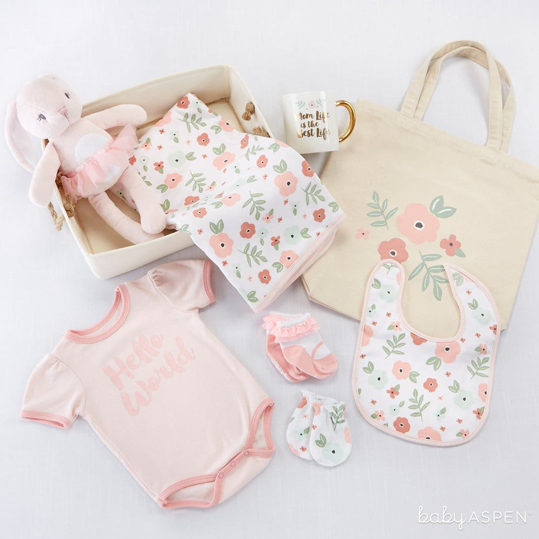 Fancy Floral 9-Piece Baby Gift Basket