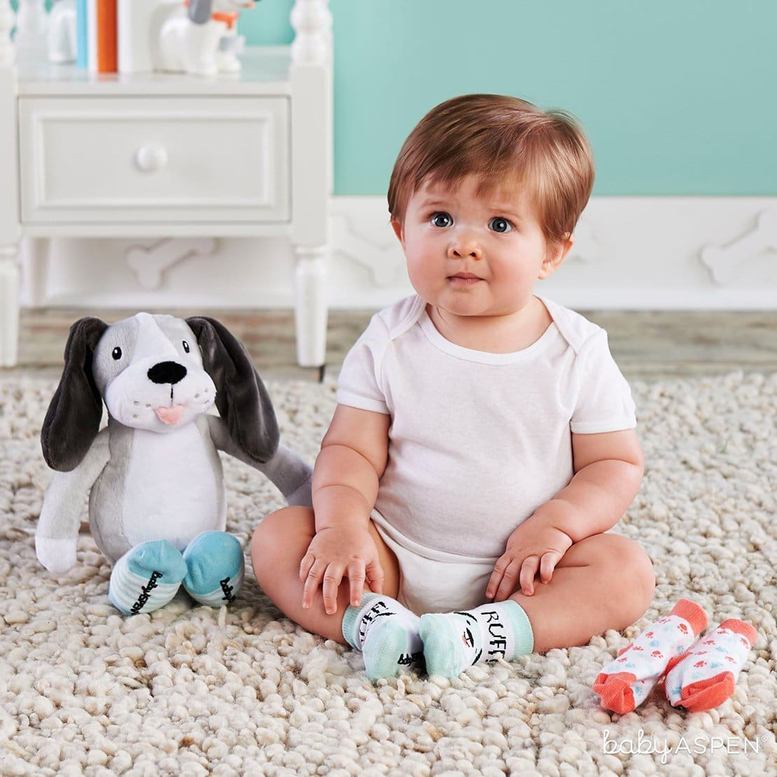 Parker the Puppy Plush Plus Socks | 7 Easy Room Decor From Baby to Toddler | Baby Aspen