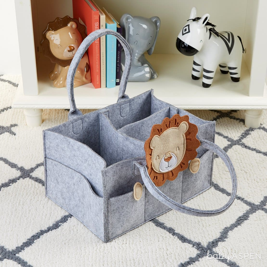 Lion Diaper Caddy Organizer | Cribspiration: A Boho Chic Safari Nursery | Baby Aspen