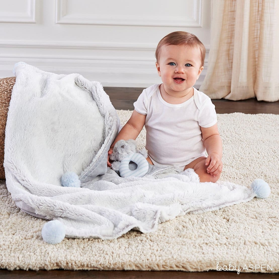 Luxury Baby Blanket & Rattle Set Blue