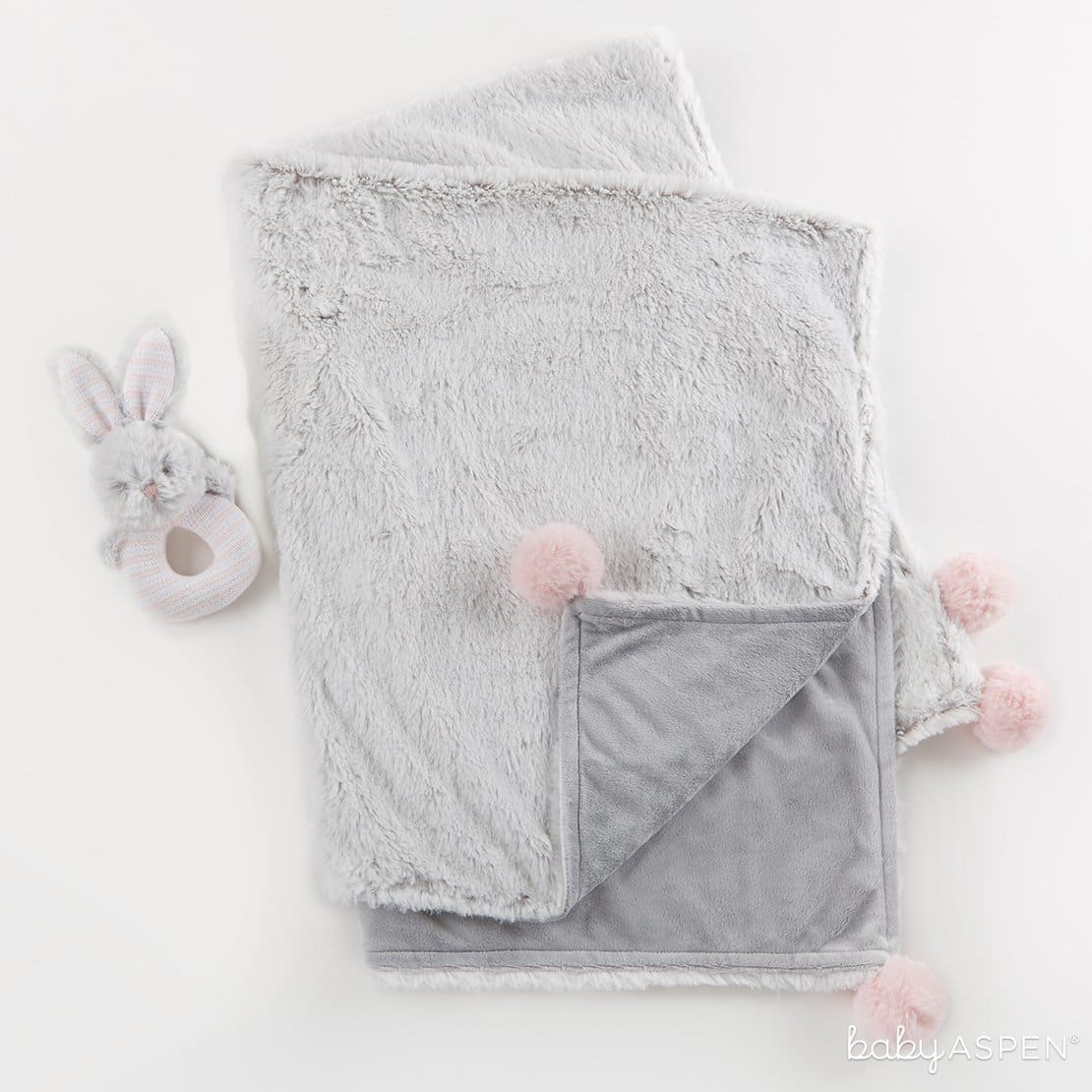Luxury Baby Blanket & Rattle Set Pink