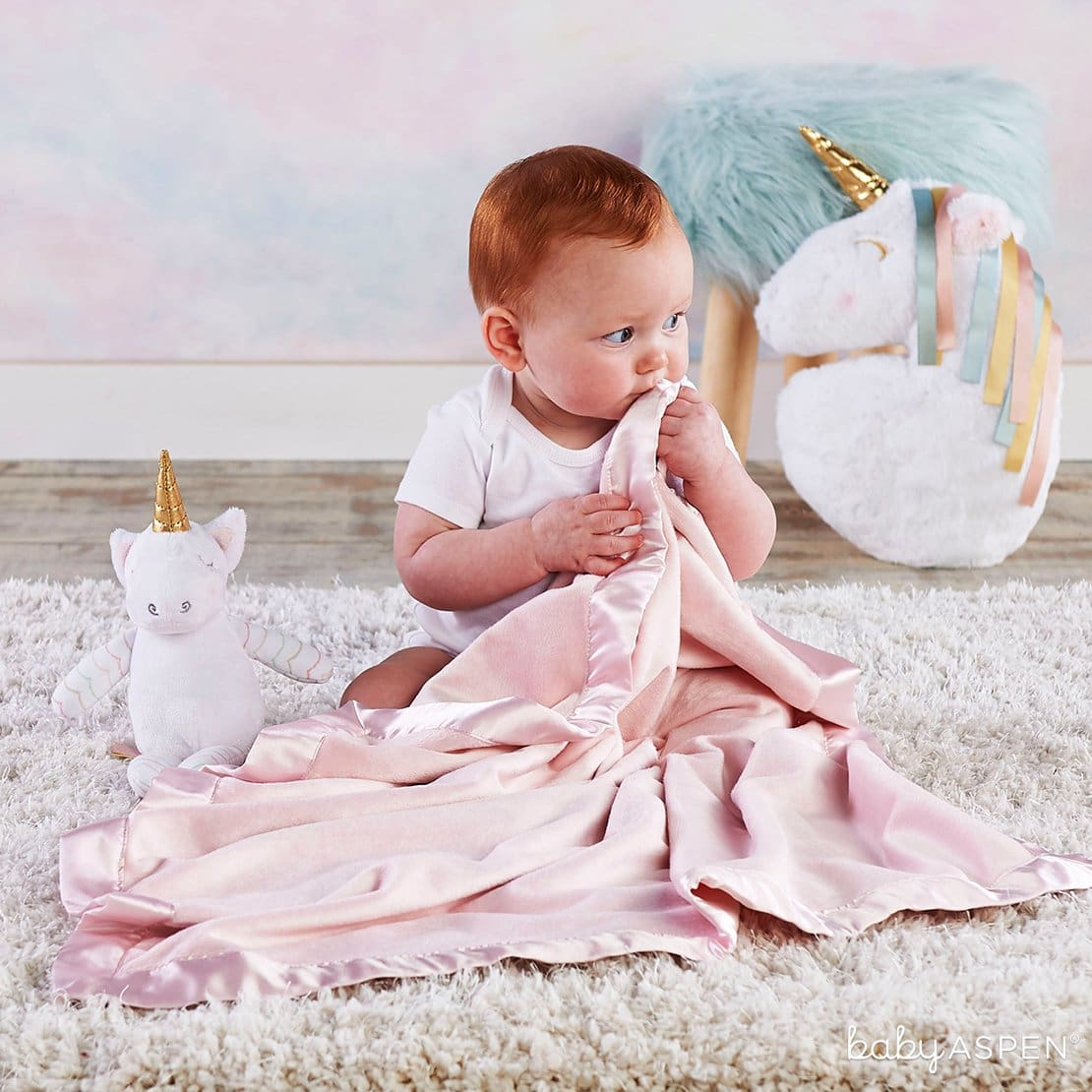 Unicorn Plush Plus Blanket for Baby