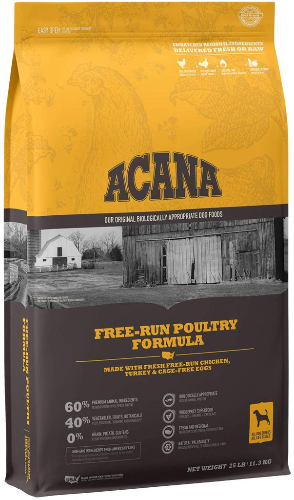 Acana Dry Dog Food Heritage Free-Run Poultry for Dog 25lb