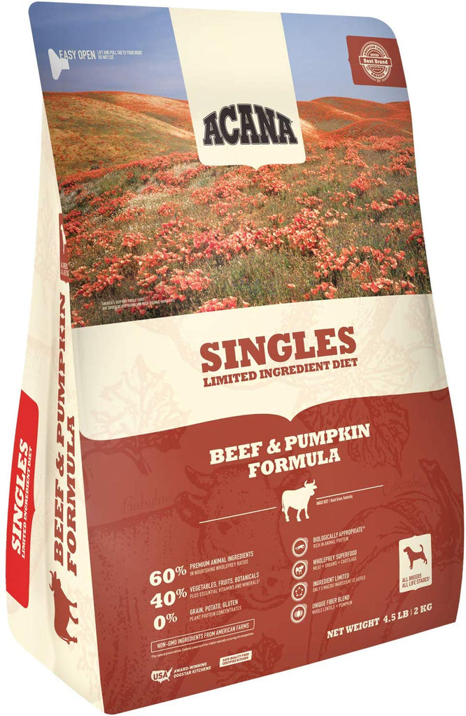 Acana Dry Dog Food Singles Beef & Pumpkin 4.5#