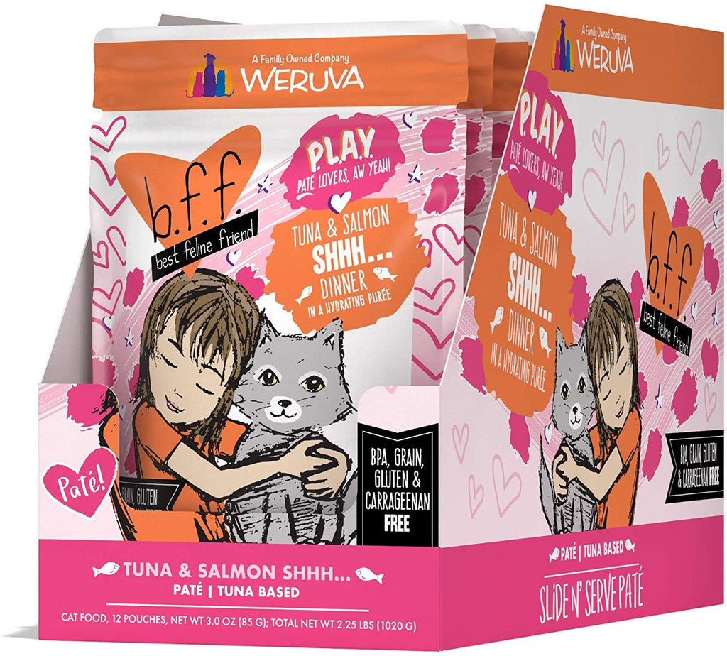 BFF Cat Play Shhh Tuna & Salmon 3oz Pouch 12/Case