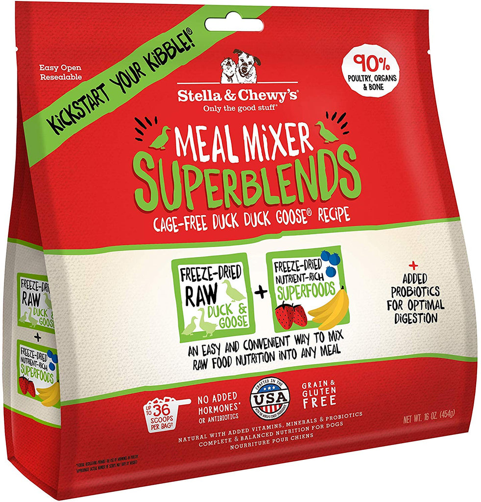 Stella & Chewy's Dried Meal Mixer Super Blends Cage-Free Duck Duck Goose Recipe 16oz