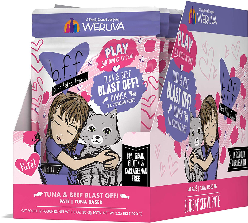 BFF Cat Play Blast Off! Tuna & Beef 3oz Pouch 12/Case