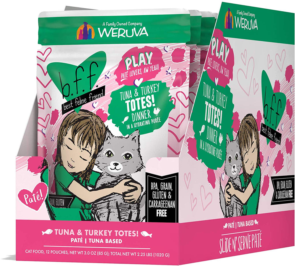 BFF Cat Play Totes Tuna & Turkey 3oz Pouch 12/Case