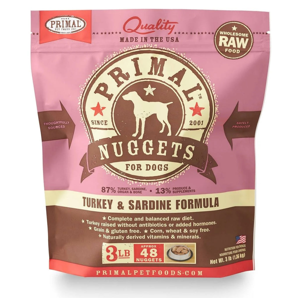 Primal RAW Frozen Turkey and Sardine for Dog 3lb Nuggets