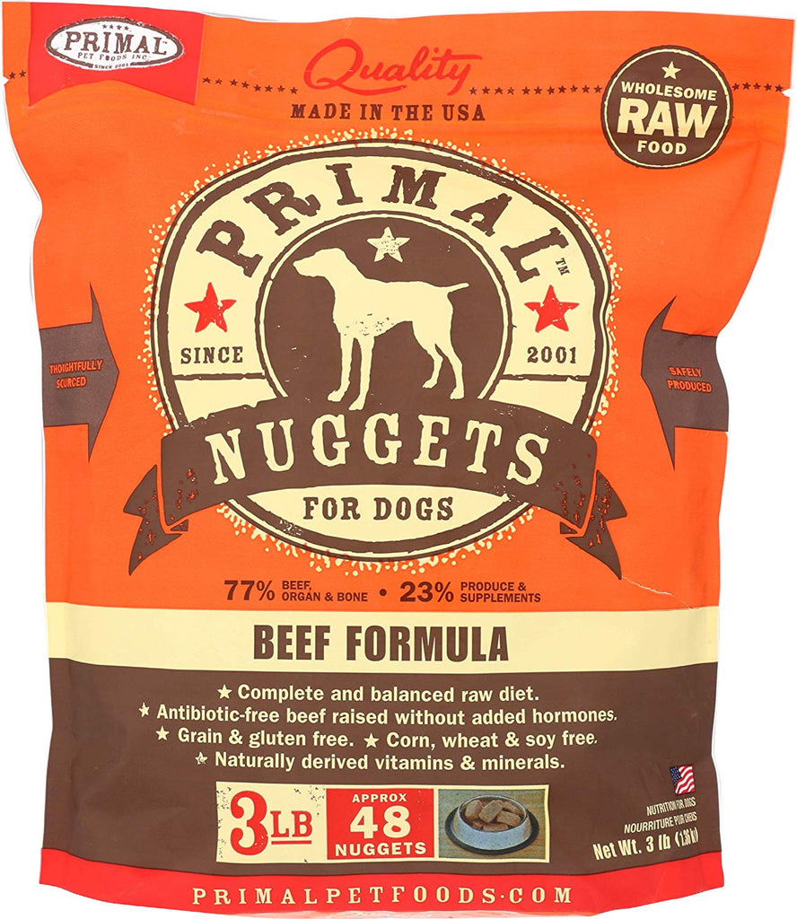 Primal RAW Frozen Beef for Dog 3lb Nuggets