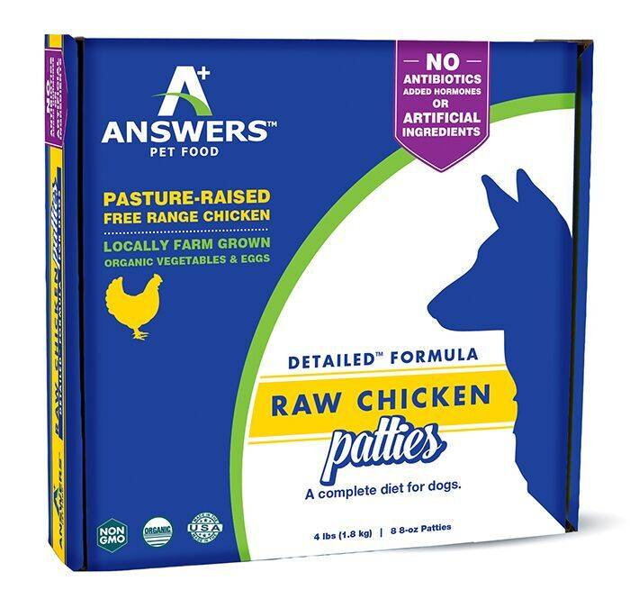 Answers Dog Frozen Detailed Chicken 8oz Patties/8 Pieces 4lb